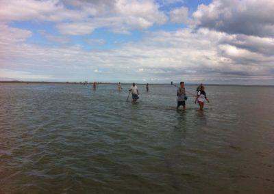 Retour des pêcheurs à la marée montante entre les Bancs Roux et la plage des Godelins