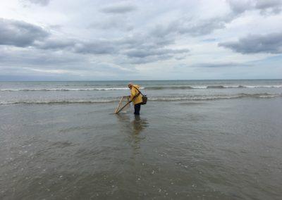 Pêcheur de crevettes grises à Martin-Plage
